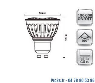 telecommande 10x led gu10 8W 3K 230v interieur