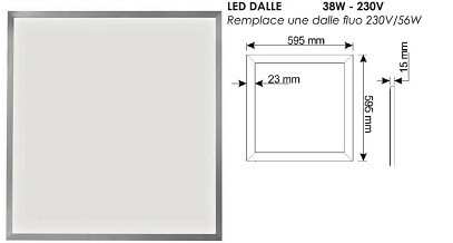 telecommande 5x led dalle 60x60 interieur