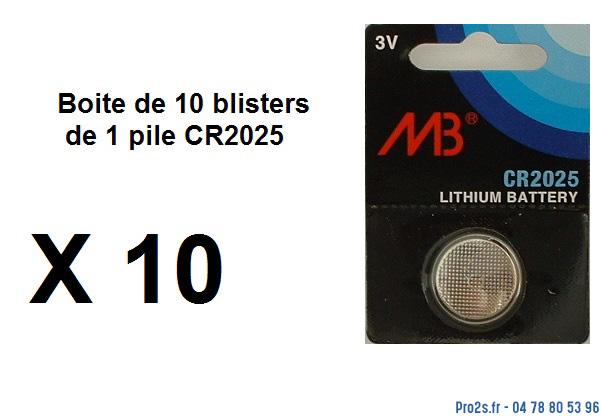 telecommande pile boite 10x cr2025 face