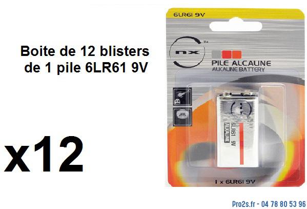 telecommande pile boite 12x 6lr61-9v face
